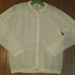 Vintage white polyester cardigan